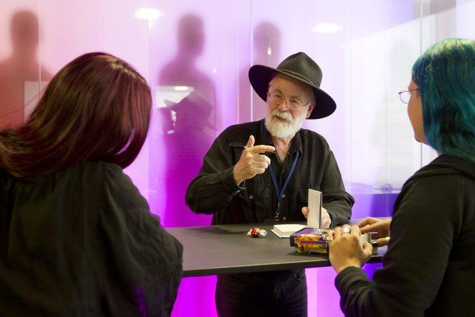 British novelist Terry Pratchett gives an interview