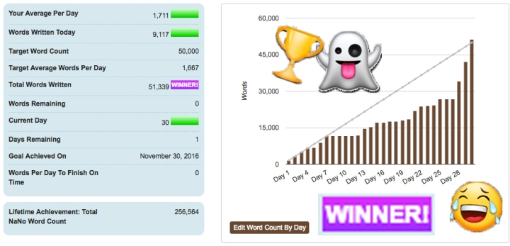 NaNoWriMo16: Final Update